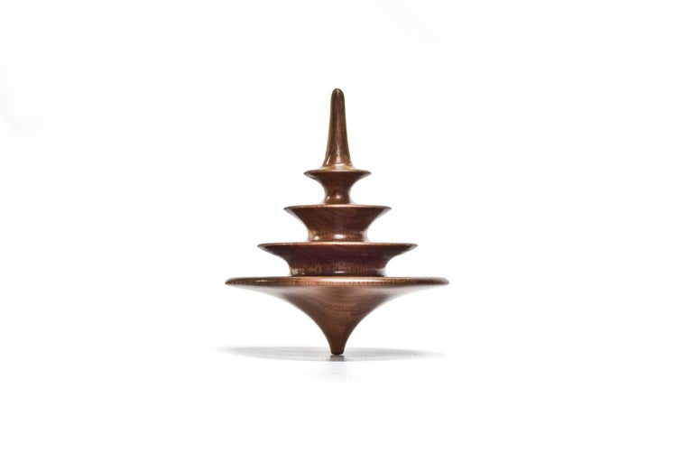Set of 3 Small Elemental Spinning Tops in Oiled Walnut by Alvaro Uribe for Wooda For Sale 3