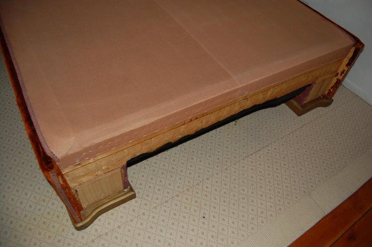 Full Size Custom Made Bed Covered in Antique Embroidered Velvet Panels For Sale 3