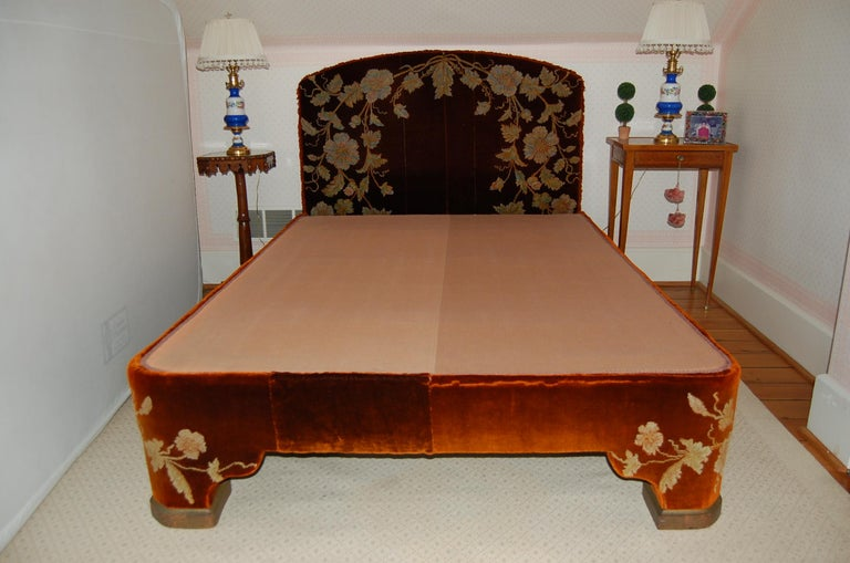 Victorian Full Size Custom Made Bed Covered in Antique Embroidered Velvet Panels For Sale
