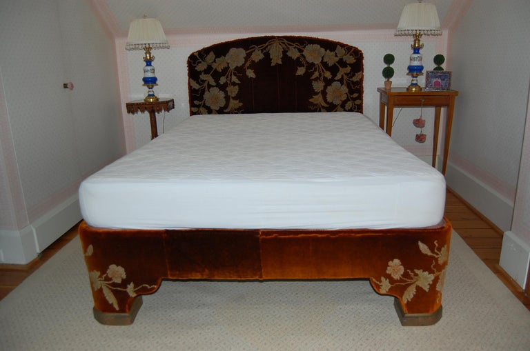 European Full Size Custom Made Bed Covered in Antique Embroidered Velvet Panels For Sale