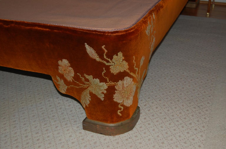 Fabric Full Size Custom Made Bed Covered in Antique Embroidered Velvet Panels For Sale