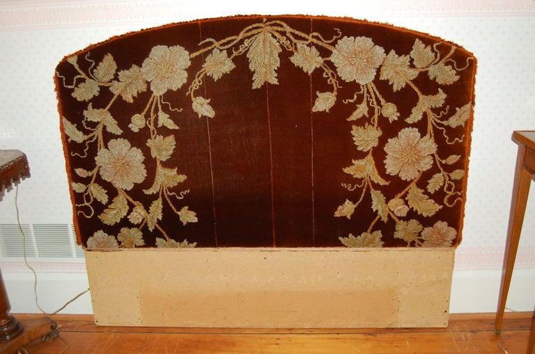 Full Size Custom Made Bed Covered in Antique Embroidered Velvet Panels For Sale 2