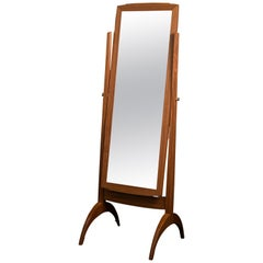 Full-Size Tilting Cheval Mirror in Jatoba and Fabric with Brass Knobs