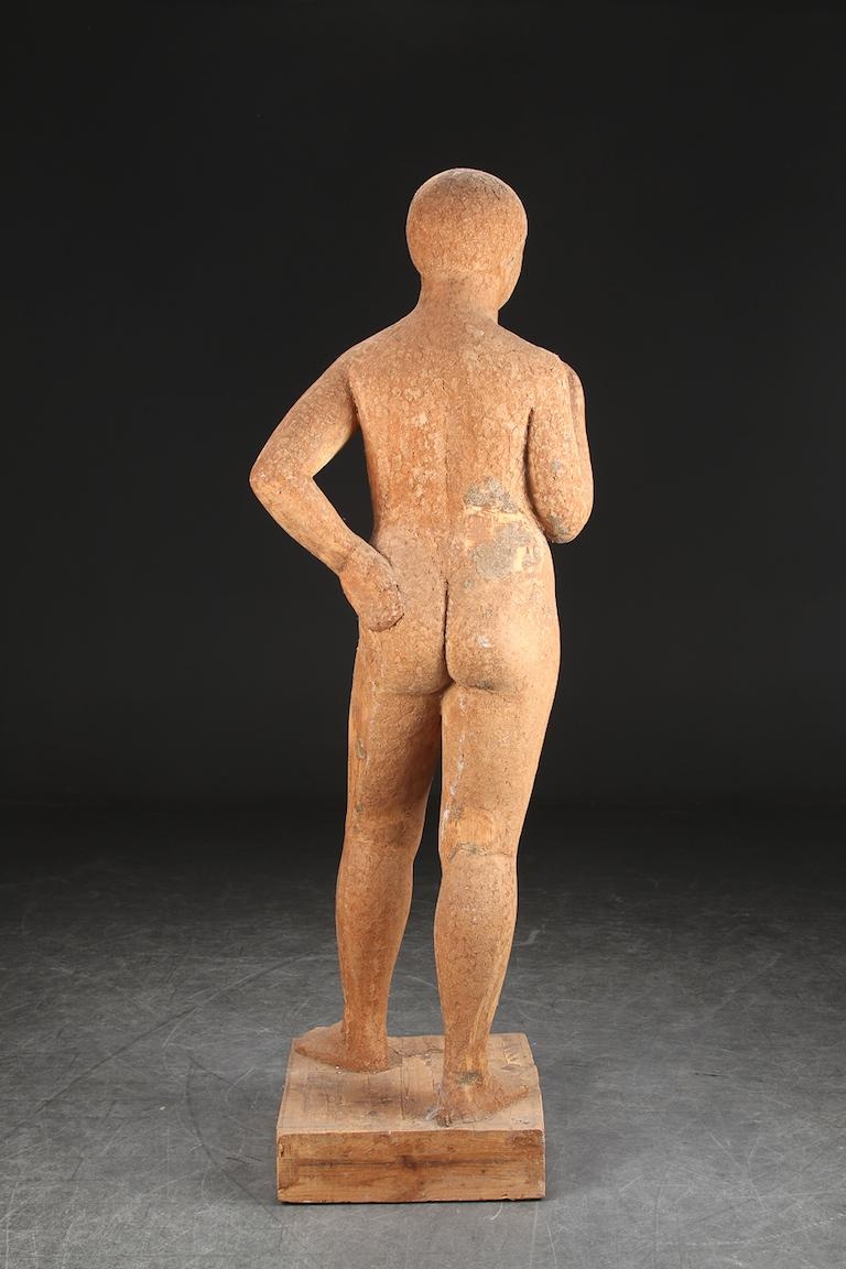Full-sized, wooden carved statue of a standing women, well executed, once painted, some ghesso chips still showing.