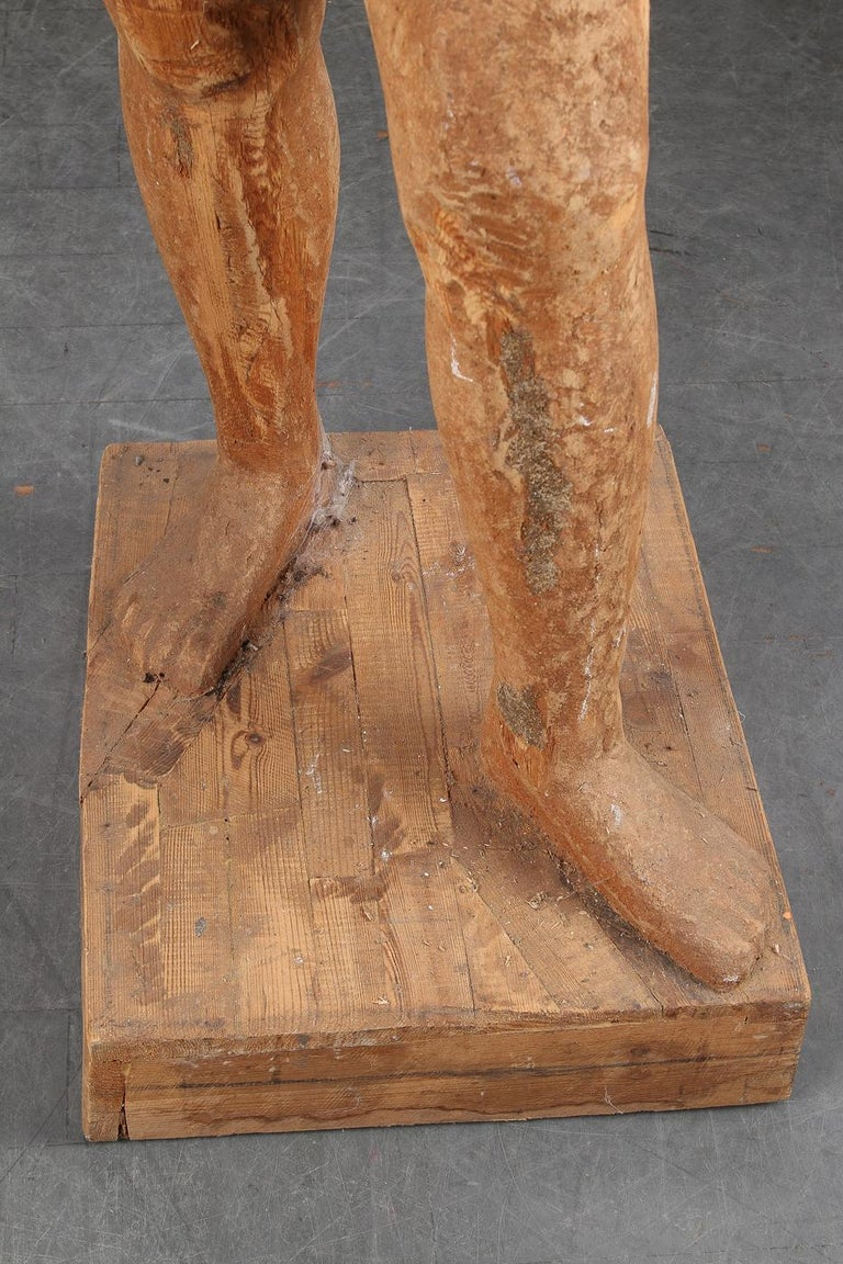 Hand-Carved Full-Size Wooden Statue For Sale