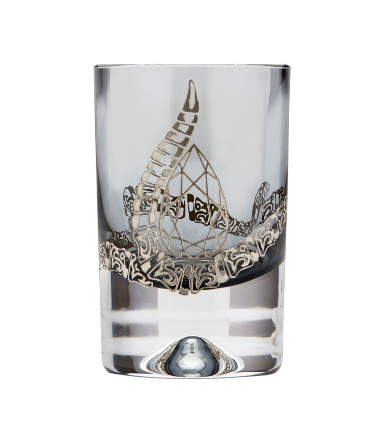 Pear Cut Stephen Webster Full Tequila Bar Set with Case - Engraved Rattlesnake Detail For Sale