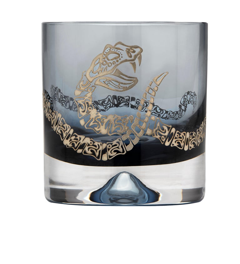 Stephen Webster Full Tequila Bar Set with Case - Engraved Rattlesnake Detail In New Condition For Sale In London, GB