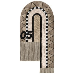 Full Track Tapestry by Moniomi, Hand-Tufted Wool Neutral Graphic Rug