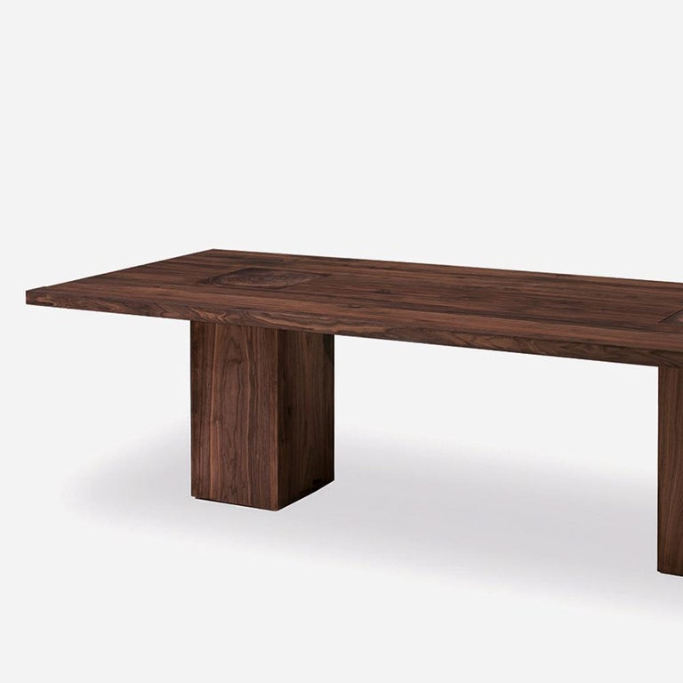 Dining table full wood with all structure in solid walnut wood with knots, the 2 bases are passing through the top. Also available in solid oakwood with knots. Available in: L 240 x D 100 x H 73.5cm, price: 11500,00€. L 260 x D 100 x H 73.5cm,