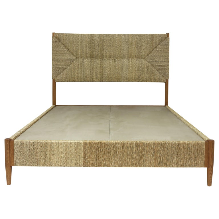 Full Size Bed with Rush Wrapped Headboard Sidetrails and Footrail in Natural Oak For Sale