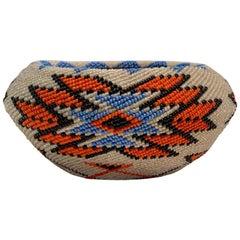 Fully Beaded Paiute Native American Indian Handmade Willow Work of Art Basket