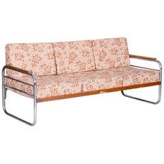 Fully Original Bauhaus fabric Tubular Chrome Sofa by Vichr a Spol, 1930s Czechia