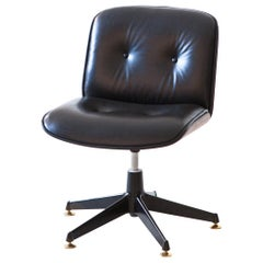 Fully Renoved Desk Chair in Black Leather and Walnut by Ico Parisi for MIM