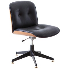 Fully Renoved Desk Chair with Black Leather by Ico Parisi for MIM Roma