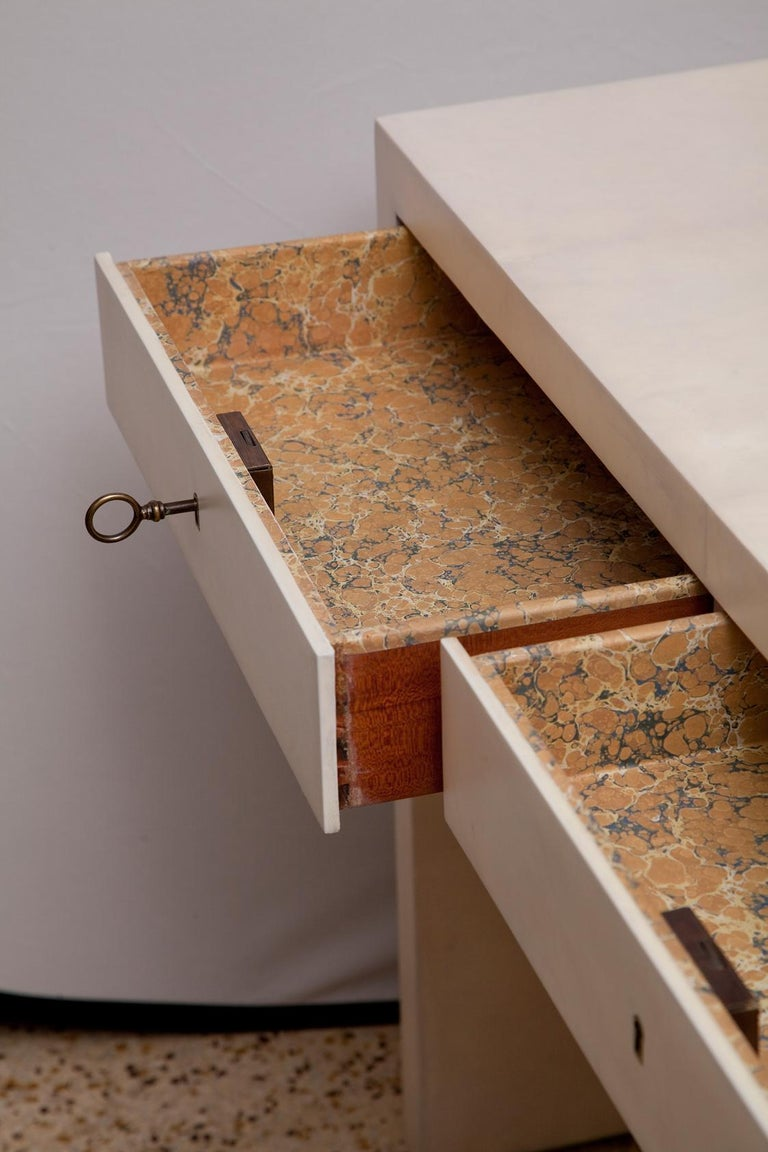 Fully Restored 1940s Parchment Partner's Desk in the Style of Jean-Michel Frank For Sale 5