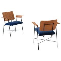 Fully Restored 1950s Italian Bentwood Teak and Blue Velvet Armchairs