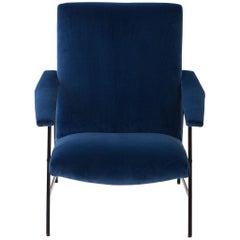 Fully Restored 1950s Italian Blue Velvet and Black Iron Armchair