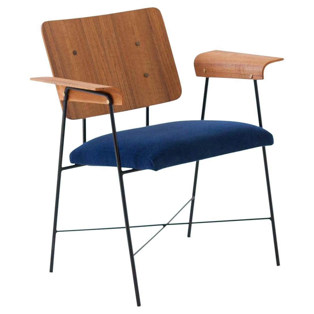 Fully Restored 1950s Italian Teak and Blue Velvet Desk Armchair