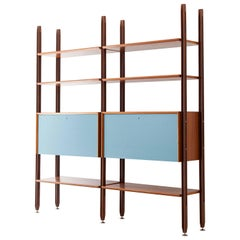 Fully Restored 1960s Teak Modular Bookshelf with Light Blue Doors
