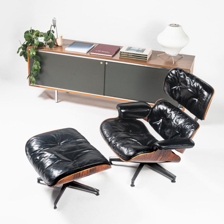 Fully Restored 1st Gen 1956 Eames Lounge Chair and Boot Glide Ottoman For Sale 4