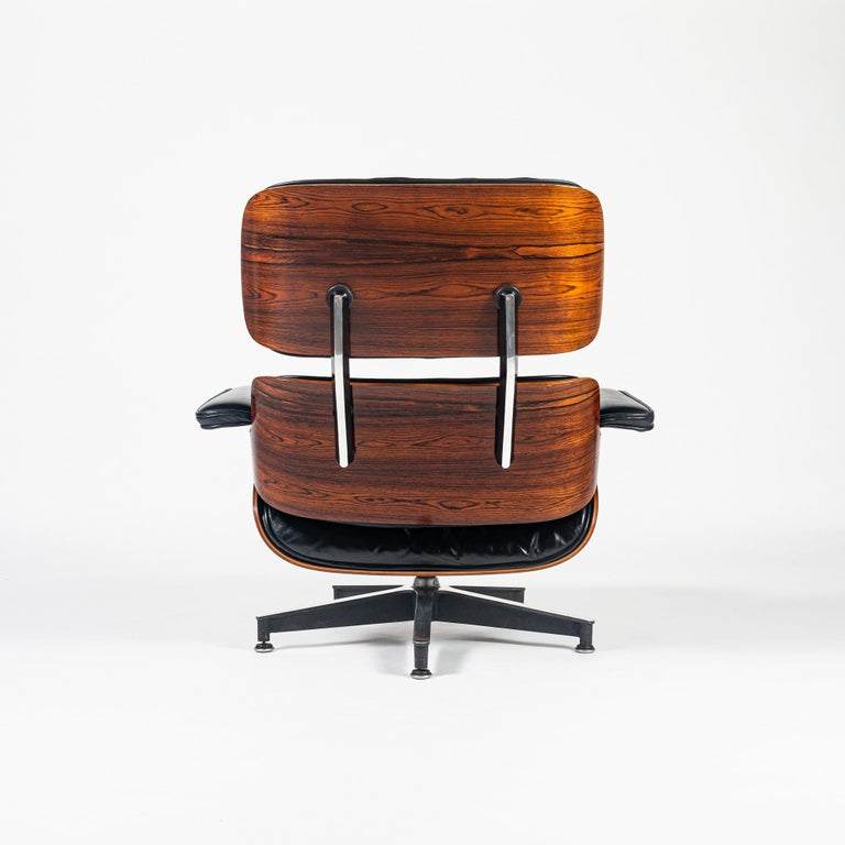 Mid-Century Modern Fully Restored 1st Gen 1956 Eames Lounge Chair and Boot Glide Ottoman For Sale
