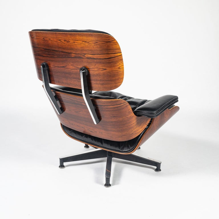American Fully Restored 1st Gen 1956 Eames Lounge Chair and Boot Glide Ottoman For Sale