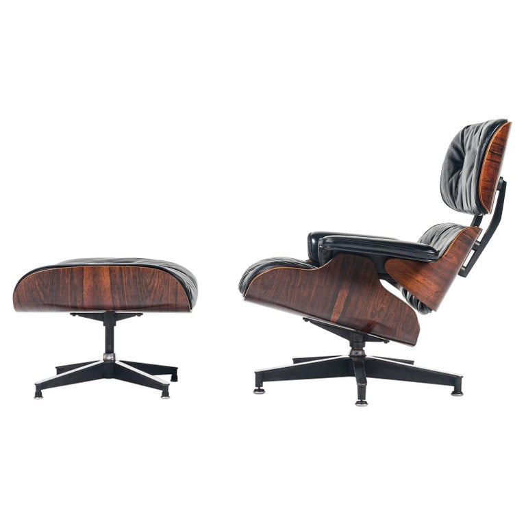 Fully Restored 1st Gen 1956 Eames Lounge Chair and Boot Glide Ottoman For Sale