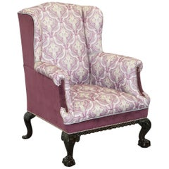 Fully Restored and Reupholstered Victorian Claw and Ball Feet Wingback Armchair
