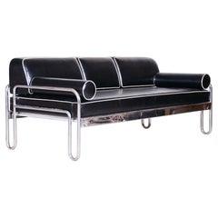 Fully Restored Bauhaus Black Leather Tubular Chrome Sofa by Robert Slezák, 1930s