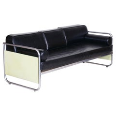 Fully Restored Bauhaus Leather and Chrome Sofa by Vichr a Spol, 1930s Czechia