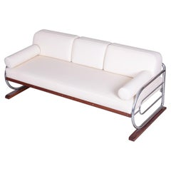 Fully Restored Bauhaus White Leather Tubular Chrome Sofa by Robert Slezák, 1930s