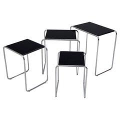 Fully Restored Black Nest Tables Made in the 1950s by Kovona, Czech Origin