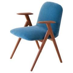 Fully Restored Blue Velvet and Teak Desk Armchair, 1950s