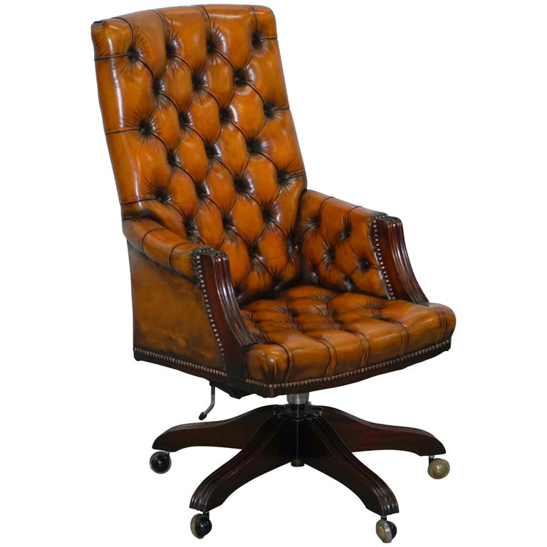 Marvelous Fully Restored Chesterfield Captains Office Chair Hand Dyed Cigar Brown Leather Download Free Architecture Designs Sospemadebymaigaardcom