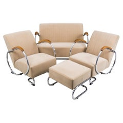 Fully Restored Chrome 1960s Seating Set Made by Kovona, in Czech Republic