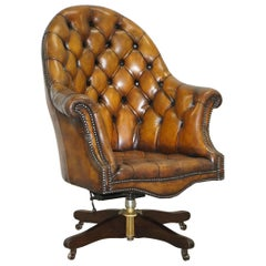 Fully Restored Cigar Brown Leather Chesterfield Captains Directors Armchair