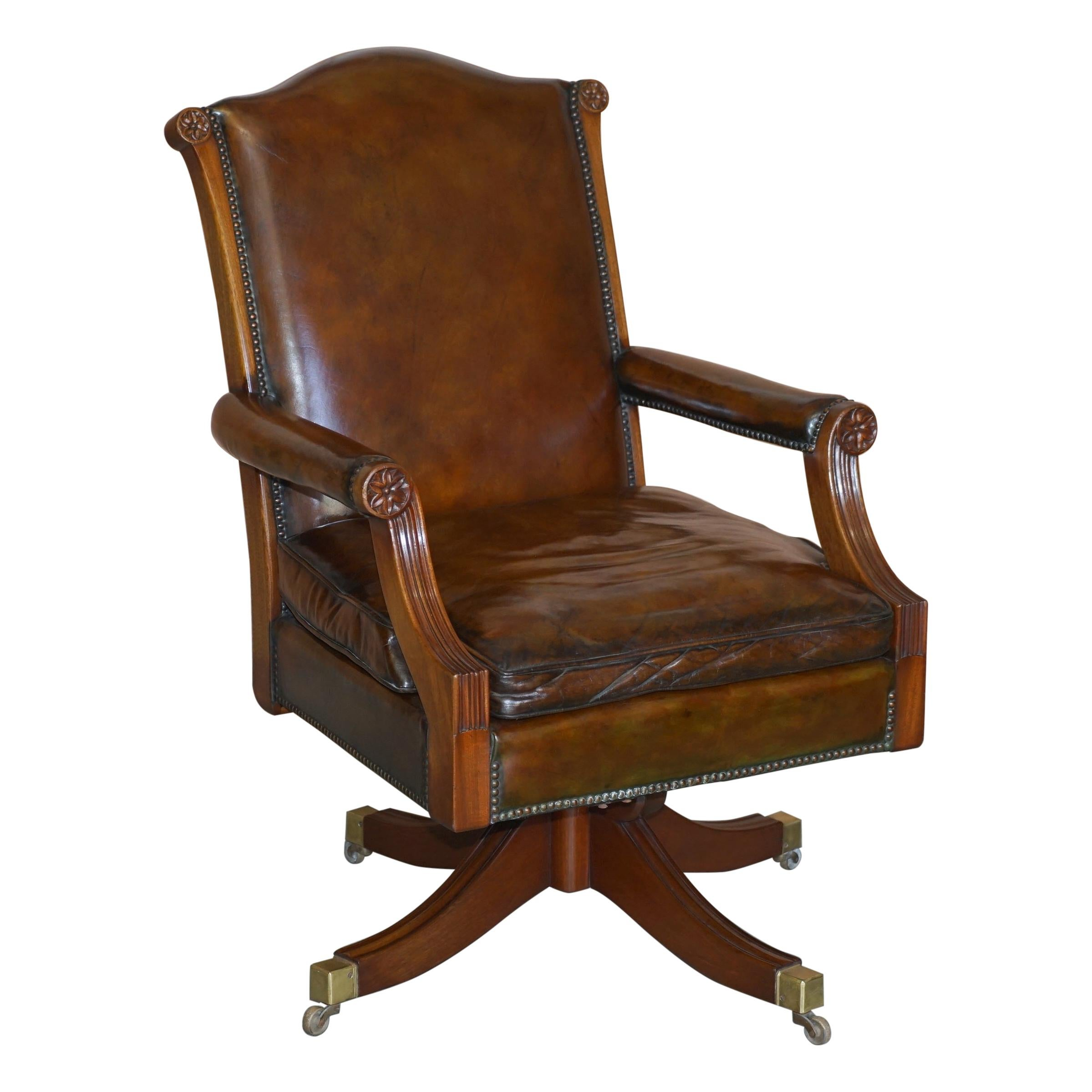Fully Restored Cigar Brown Leather Oak Framed Captains Directors Armchair