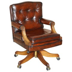 Fully Restored Cigar Brown Leather Oak Framed Chesterfield Captains Armchair