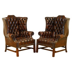 Fully Restored Cigar Brown Pair of H Framed Chesterfield Wingback