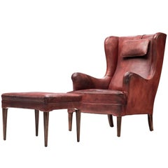 Fully Restored Frits Henningsen Lounge Chair in Original Leather