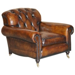 Fully Restored George Smith Cigar Brown Leather Chesterfield Tufted Armchair