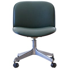 Fully Restored Green Skai Swivel Desk Chair by Ico Parisi for MIM Roma, 1950s