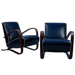 Fully Restored H269 Lounge Chairs in Leather by Jindřich Halabala, 1930s