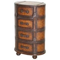 Fully Restored Hand Dyed Brown Leather Oval Luggage Tall Boy Chest of Drawers
