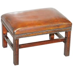 Fully Restored Hand Dyed Cigar Brown Leather Footstool Beech Wood Frame