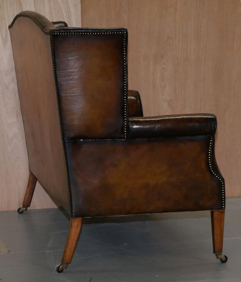 Surprising Fully Restored Hand Dyed Cigar Brown Leather Victorian Wingback Bench Sofa Seat Pabps2019 Chair Design Images Pabps2019Com