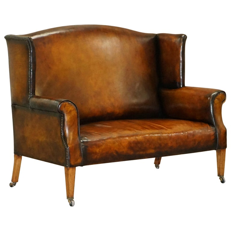 Stupendous Fully Restored Hand Dyed Cigar Brown Leather Victorian Wingback Bench Sofa Seat Pabps2019 Chair Design Images Pabps2019Com