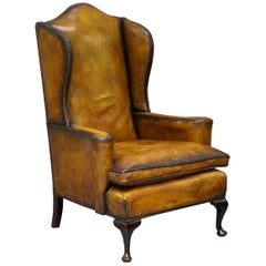 Fully Restored Hand Dyed Cigar Brown Leather Wingback William Morris Armchair