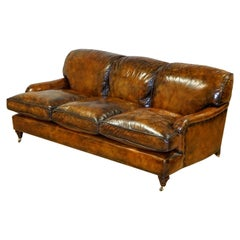 Fully Restored Hand Dyed Leather Feather Fill Sofa Manner Of Howard & Sons