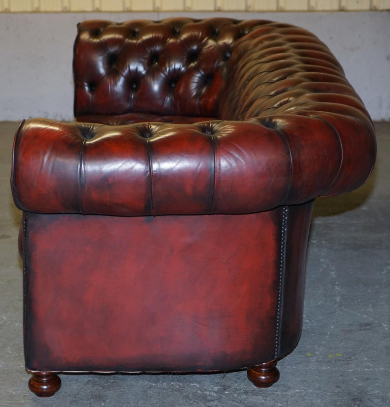 Fully Restored Hand Dyed Oxblood Leather Fully Tufted Chesterfield Buttoned Sofa For Sale 12